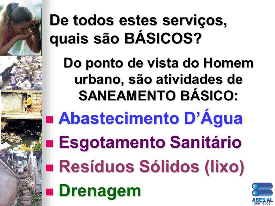 De todos estes serviços, quais são BÁSICOS? Do ponto de vista do Homem urbano, são atividades de SANEAMENTO BÁSICO: Abastecimento DÁgua Abastecimento