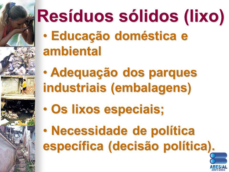 Educação doméstica e ambiental Educação doméstica e ambiental Adequação dos parques industriais (embalagens) Adequação dos parques industriais (embala