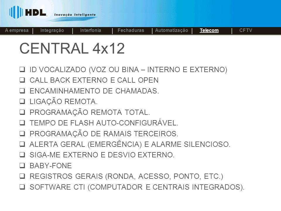 CENTRAL 4x12 ID VOCALIZADO (VOZ OU BINA – INTERNO E EXTERNO) CALL BACK EXTERNO E CALL OPEN ENCAMINHAMENTO DE CHAMADAS.