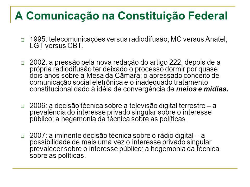 A Comunicação na Constituição Federal 1995: telecomunicações versus radiodifusão; MC versus Anatel; LGT versus CBT. 2002: a pressão pela nova redação