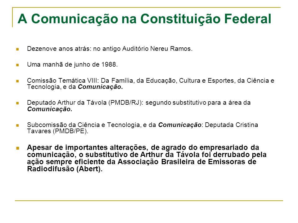 A Comunicação na Constituição Federal Dezenove anos atrás: no antigo Auditório Nereu Ramos. Uma manhã de junho de 1988. Comissão Temática VIII: Da Fam
