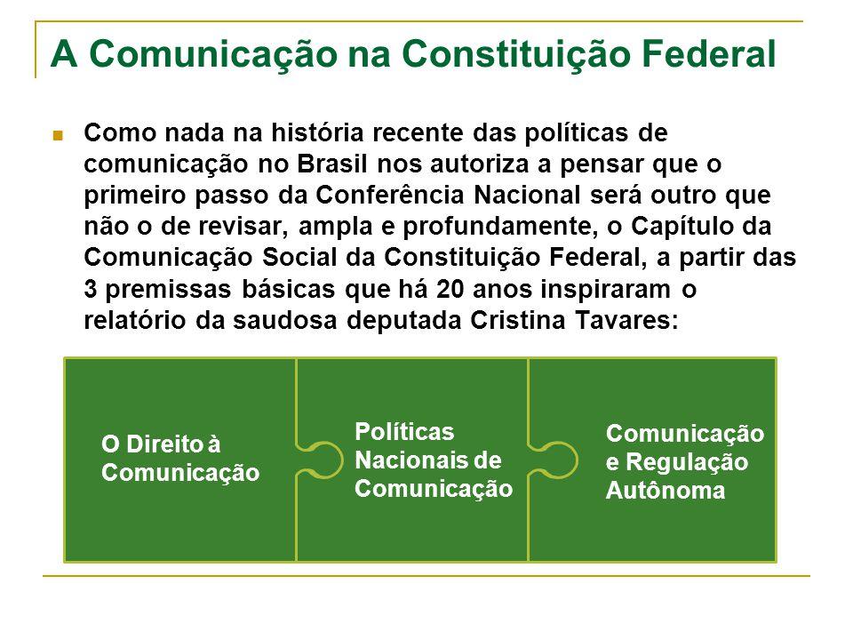 A Comunicação na Constituição Federal Como nada na história recente das políticas de comunicação no Brasil nos autoriza a pensar que o primeiro passo