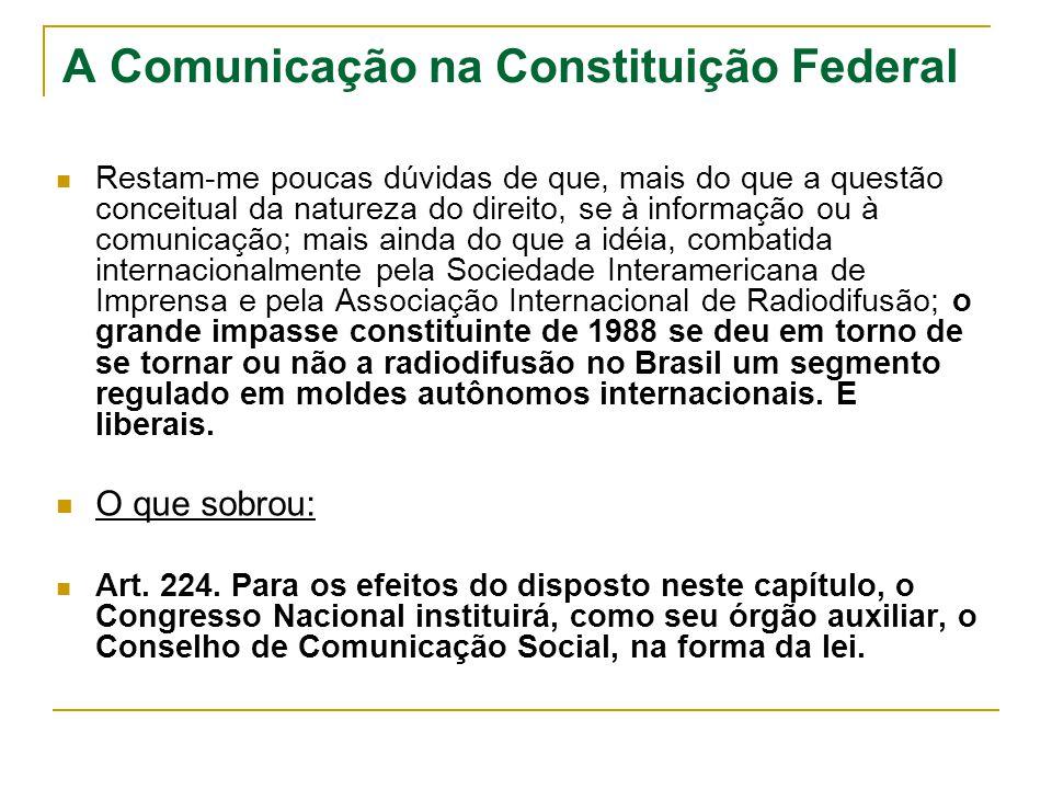 A Comunicação na Constituição Federal 1995: telecomunicações versus radiodifusão; MC versus Anatel; LGT versus CBT.