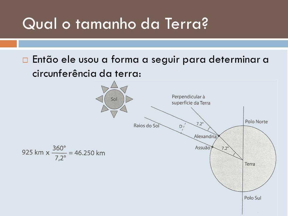 Qual o tamanho da Terra? Então ele usou a forma a seguir para determinar a circunferência da terra: