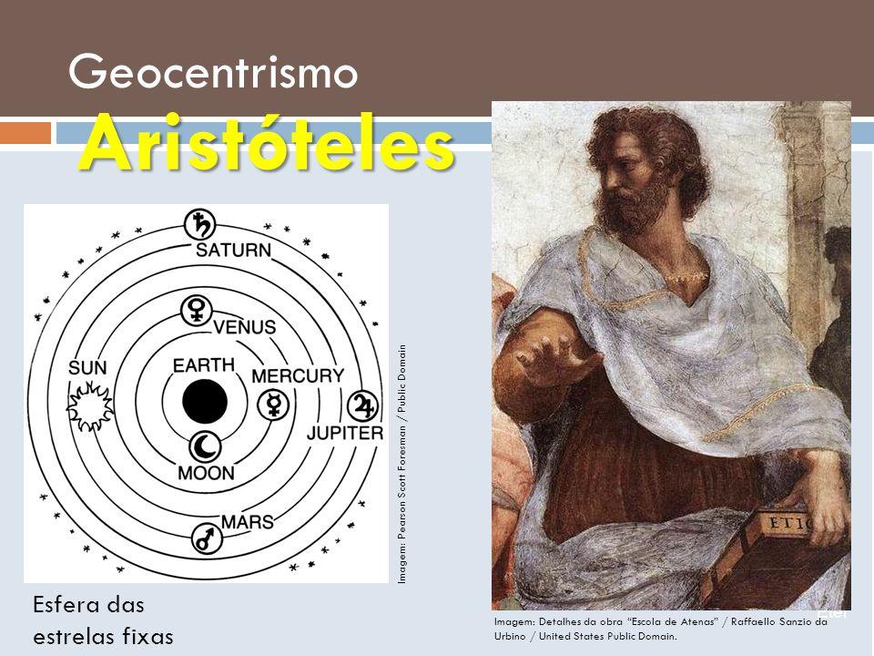 Geocentrismo Éter Esfera das estrelas fixas Aristóteles Imagem: Detalhes da obra Escola de Atenas / Raffaello Sanzio da Urbino / United States Public