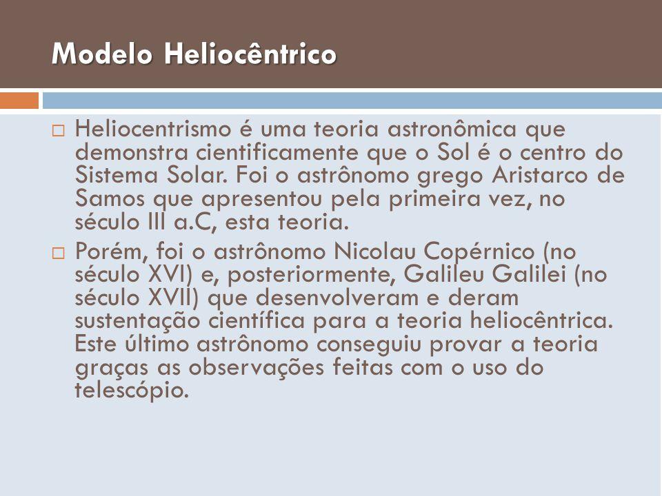 Modelo Heliocêntrico Heliocentrismo é uma teoria astronômica que demonstra cientificamente que o Sol é o centro do Sistema Solar. Foi o astrônomo greg
