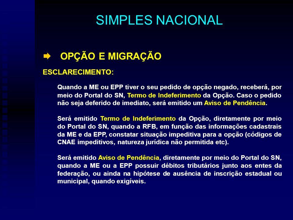 OPÇÃO E MIGRAÇÃO ESCLARECIMENTO: Quando a ME ou EPP tiver o seu pedido de opção negado, receberá, por meio do Portal do SN, Termo de Indeferimento da Opção.