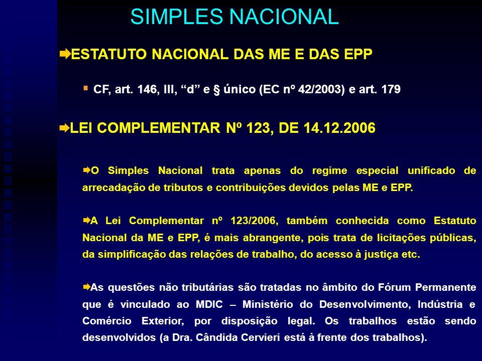 ESTATUTO NACIONAL DAS ME E DAS EPP CF, art. 146, III, d e § único (EC nº 42/2003) e art.