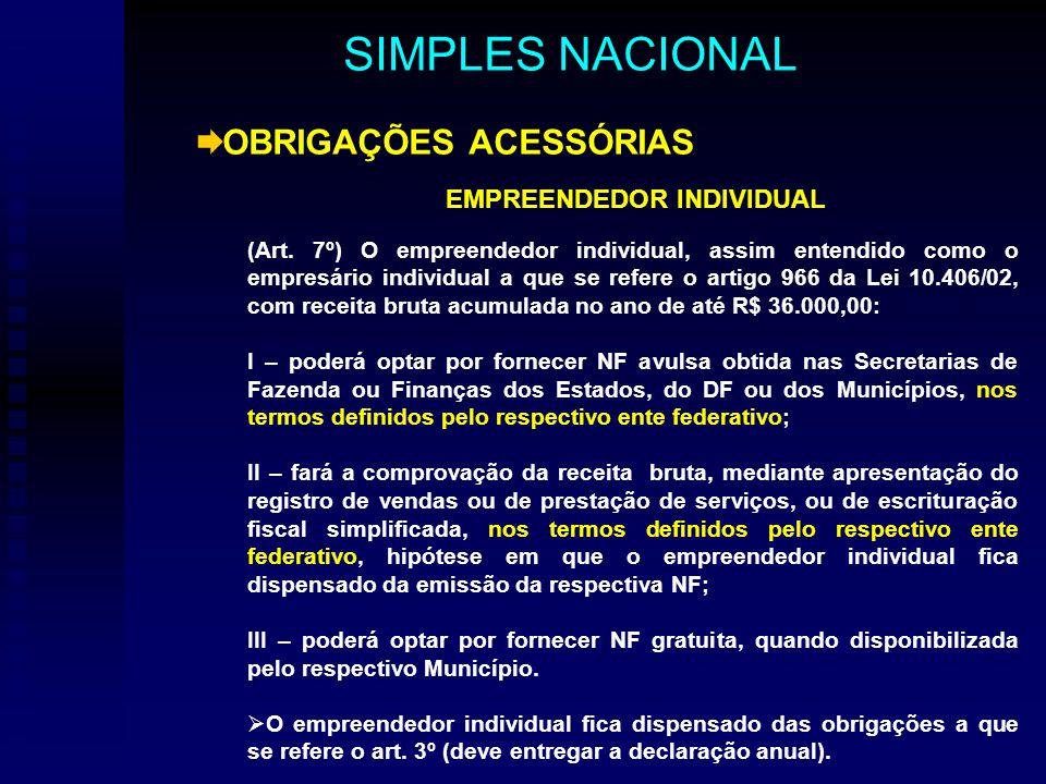 OBRIGAÇÕES ACESSÓRIAS EMPREENDEDOR INDIVIDUAL (Art.