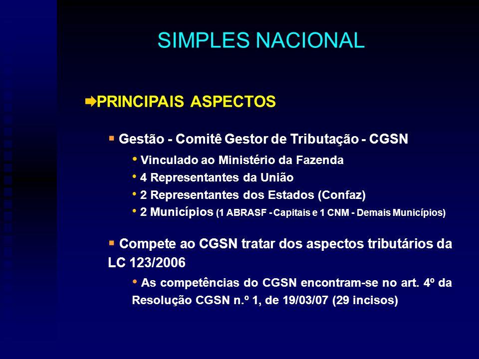 PRINCIPAIS ASPECTOS Gestão - Comitê Gestor de Tributação - CGSN Vinculado ao Ministério da Fazenda 4 Representantes da União 2 Representantes dos Estados (Confaz) 2 Municípios (1 ABRASF - Capitais e 1 CNM - Demais Municípios) Compete ao CGSN tratar dos aspectos tributários da LC 123/2006 As competências do CGSN encontram-se no art.