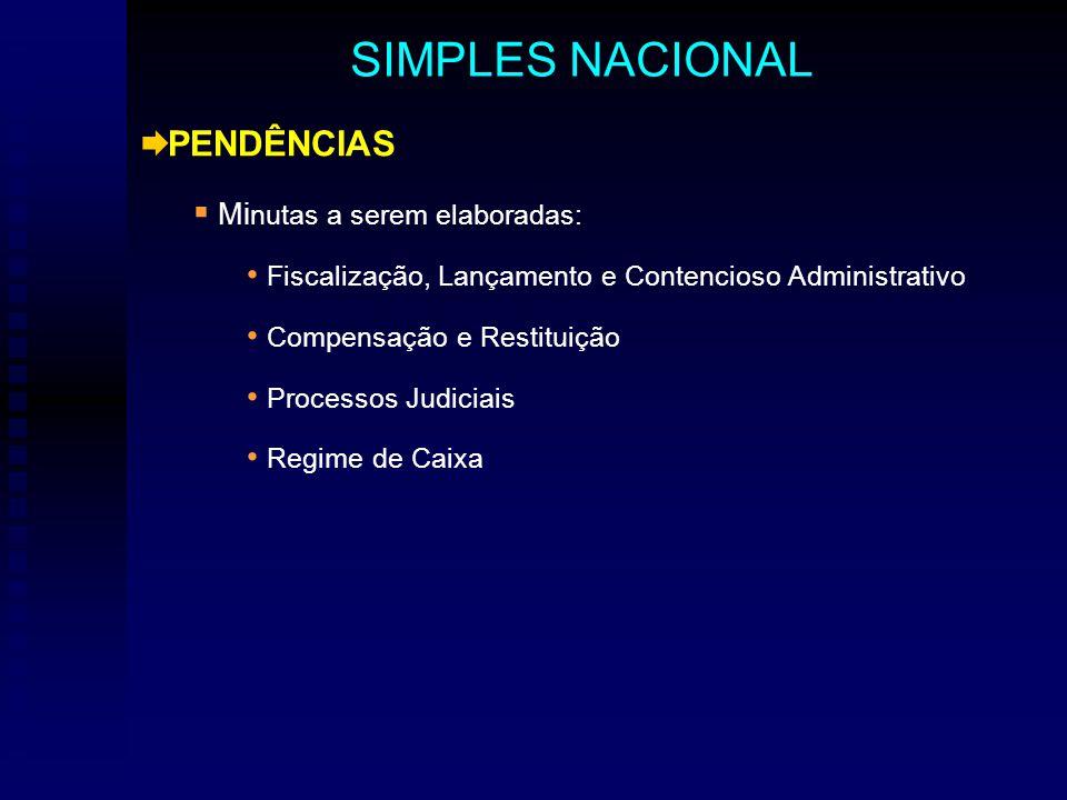 PENDÊNCIAS Mi nutas a serem elaboradas: Fiscalização, Lançamento e Contencioso Administrativo Compensação e Restituição Processos Judiciais Regime de Caixa SIMPLES NACIONAL