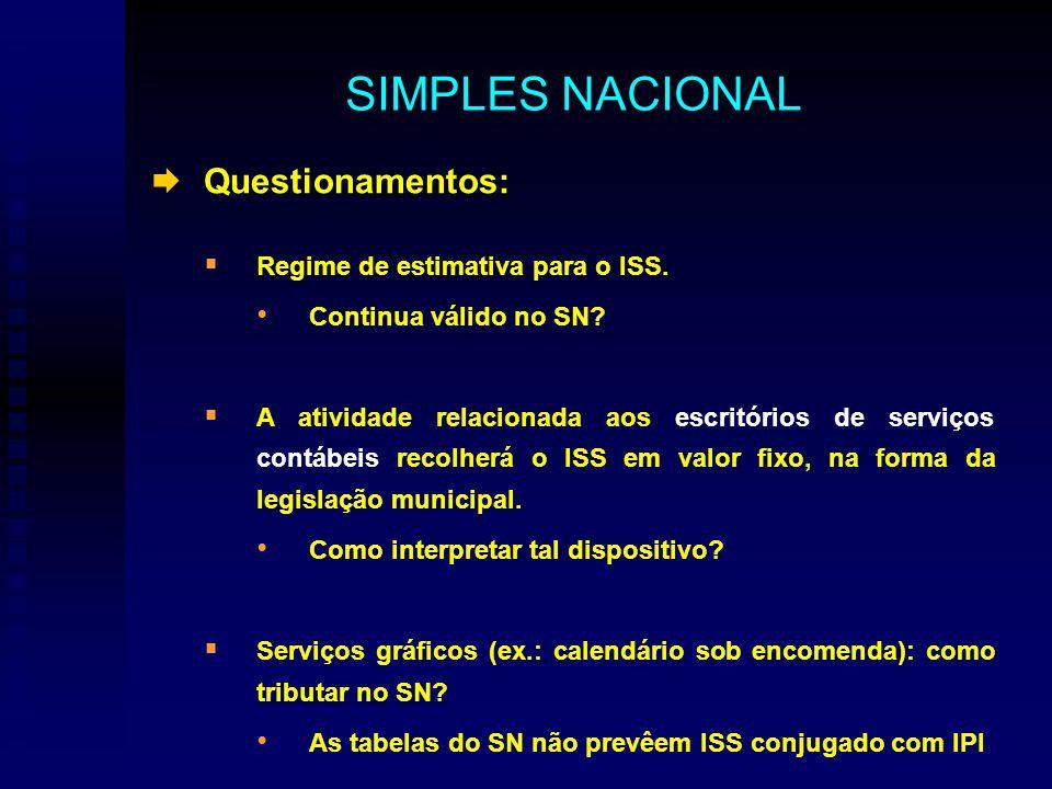 Questionamentos: Regime de estimativa para o ISS. Continua válido no SN.
