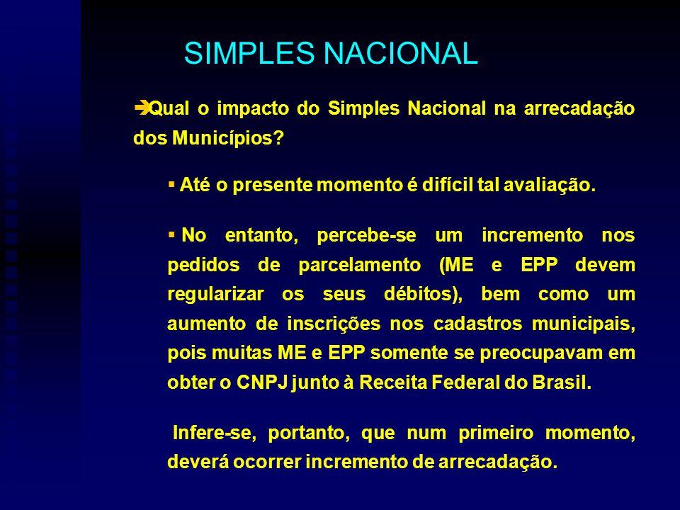 Qual o impacto do Simples Nacional na arrecadação dos Municípios.