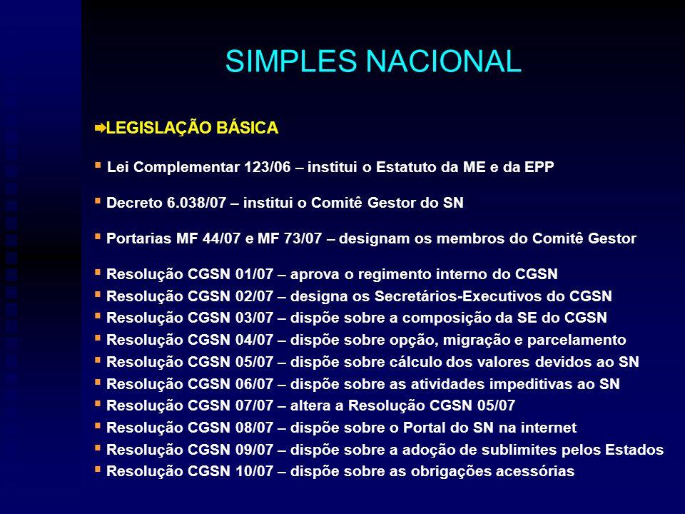 LEGISLAÇÃO BÁSICA Lei Complementar 123/06 – institui o Estatuto da ME e da EPP Decreto 6.038/07 – institui o Comitê Gestor do SN Portarias MF 44/07 e MF 73/07 – designam os membros do Comitê Gestor Resolução CGSN 01/07 – aprova o regimento interno do CGSN Resolução CGSN 02/07 – designa os Secretários-Executivos do CGSN Resolução CGSN 03/07 – dispõe sobre a composição da SE do CGSN Resolução CGSN 04/07 – dispõe sobre opção, migração e parcelamento Resolução CGSN 05/07 – dispõe sobre cálculo dos valores devidos ao SN Resolução CGSN 06/07 – dispõe sobre as atividades impeditivas ao SN Resolução CGSN 07/07 – altera a Resolução CGSN 05/07 Resolução CGSN 08/07 – dispõe sobre o Portal do SN na internet Resolução CGSN 09/07 – dispõe sobre a adoção de sublimites pelos Estados Resolução CGSN 10/07 – dispõe sobre as obrigações acessórias SIMPLES NACIONAL