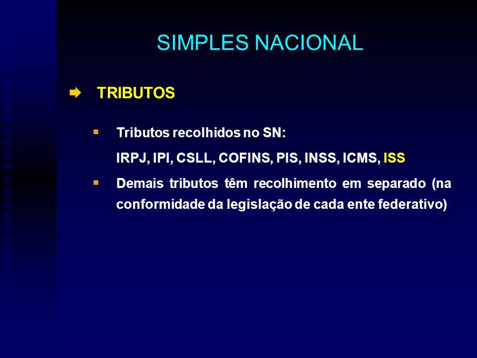 TRIBUTOS Tributos recolhidos no SN: IRPJ, IPI, CSLL, COFINS, PIS, INSS, ICMS, ISS Demais tributos têm recolhimento em separado (na conformidade da legislação de cada ente federativo) SIMPLES NACIONAL