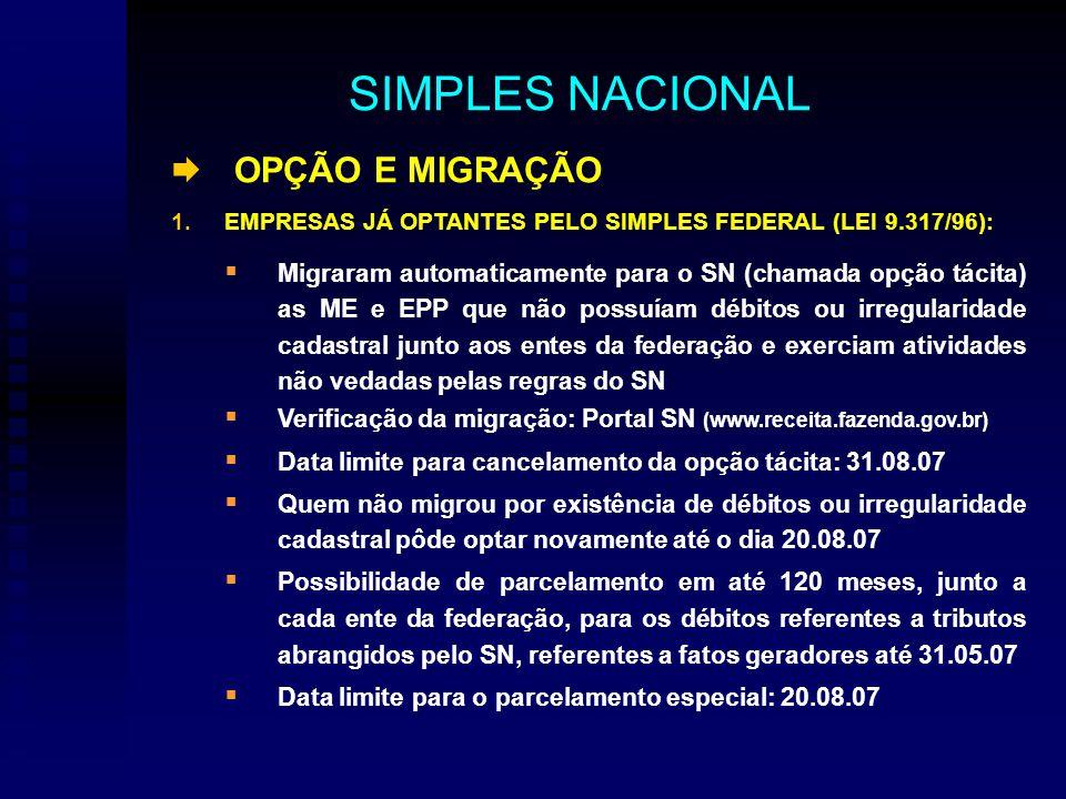 OPÇÃO E MIGRAÇÃO 1.EMPRESAS JÁ OPTANTES PELO SIMPLES FEDERAL (LEI 9.317/96): Migraram automaticamente para o SN (chamada opção tácita) as ME e EPP que não possuíam débitos ou irregularidade cadastral junto aos entes da federação e exerciam atividades não vedadas pelas regras do SN Verificação da migração: Portal SN (www.receita.fazenda.gov.br) Data limite para cancelamento da opção tácita: 31.08.07 Quem não migrou por existência de débitos ou irregularidade cadastral pôde optar novamente até o dia 20.08.07 Possibilidade de parcelamento em até 120 meses, junto a cada ente da federação, para os débitos referentes a tributos abrangidos pelo SN, referentes a fatos geradores até 31.05.07 Data limite para o parcelamento especial: 20.08.07 SIMPLES NACIONAL