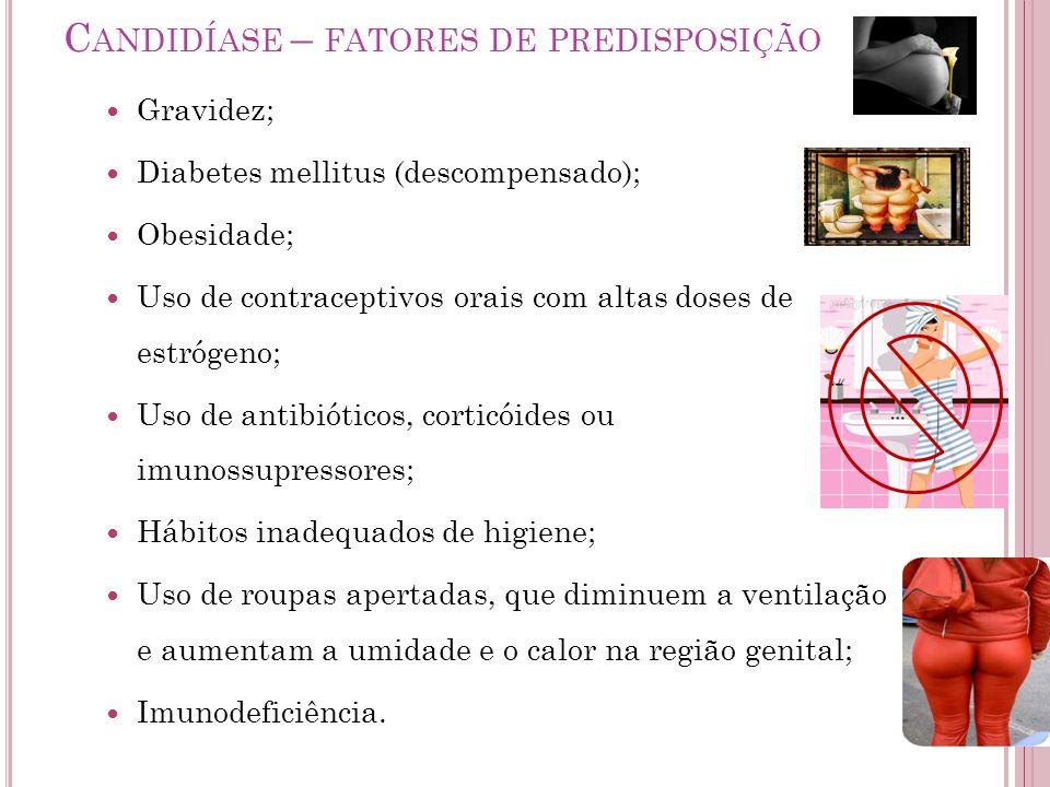 C ANDIDÍASE – FATORES DE PREDISPOSIÇÃO Gravidez; Diabetes mellitus (descompensado); Obesidade; Uso de contraceptivos orais com altas doses de estrógen