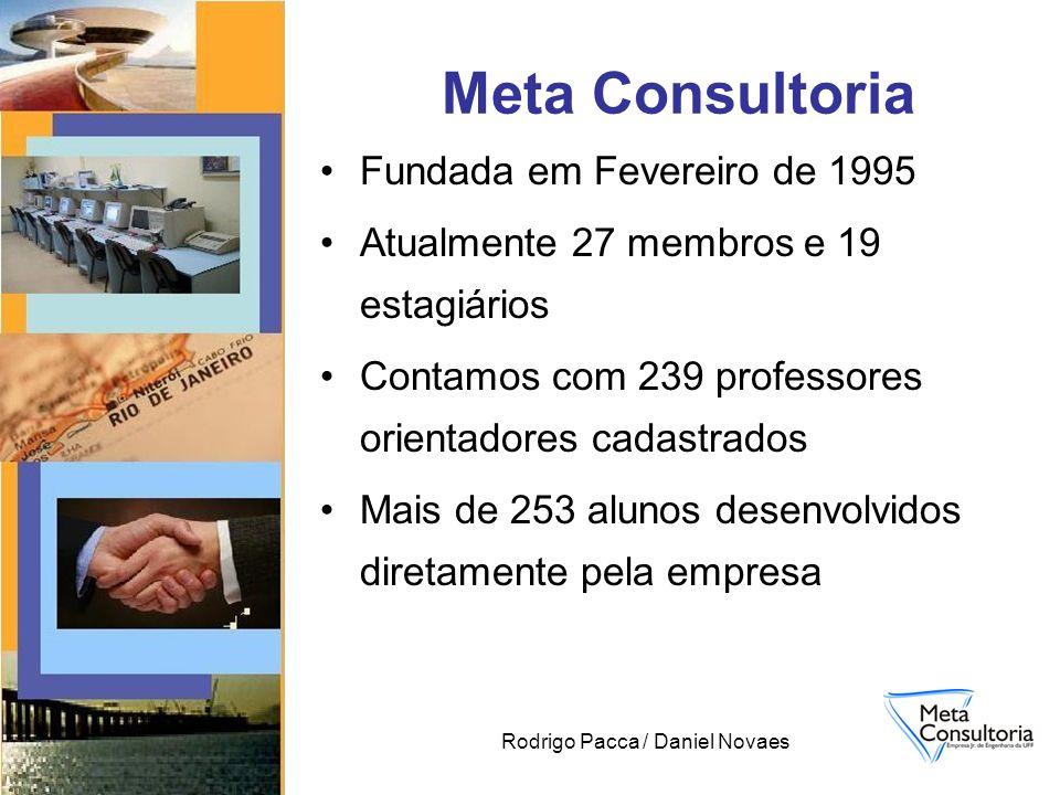 Rodrigo Pacca / Daniel Novaes Fundada em Fevereiro de 1995 Atualmente 27 membros e 19 estagiários Contamos com 239 professores orientadores cadastrados Mais de 253 alunos desenvolvidos diretamente pela empresa Meta Consultoria