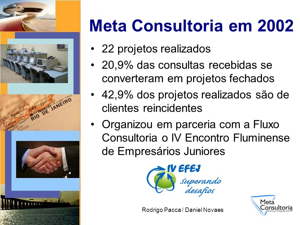 Rodrigo Pacca / Daniel Novaes 22 projetos realizados 20,9% das consultas recebidas se converteram em projetos fechados 42,9% dos projetos realizados são de clientes reincidentes Organizou em parceria com a Fluxo Consultoria o IV Encontro Fluminense de Empresários Juniores Meta Consultoria em 2002