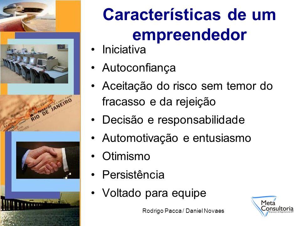 Rodrigo Pacca / Daniel Novaes Características de um empreendedor Iniciativa Autoconfiança Aceitação do risco sem temor do fracasso e da rejeição Decis