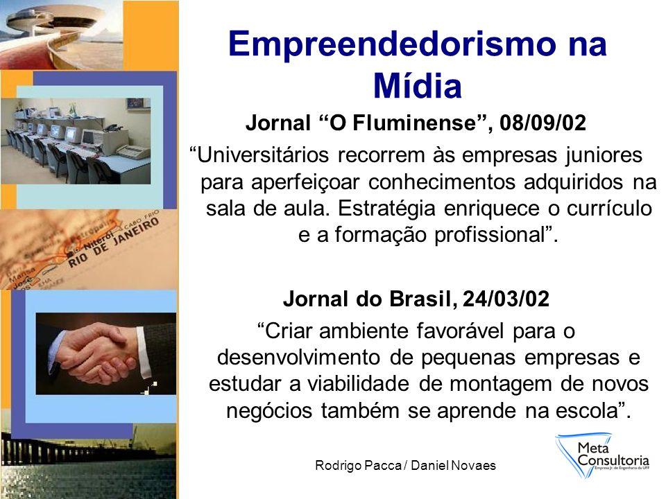 Rodrigo Pacca / Daniel Novaes Empreendedorismo na Mídia Jornal O Fluminense, 08/09/02 Universitários recorrem às empresas juniores para aperfeiçoar co