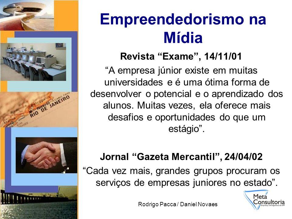 Rodrigo Pacca / Daniel Novaes Revista Exame, 14/11/01 A empresa júnior existe em muitas universidades e é uma ótima forma de desenvolver o potencial e o aprendizado dos alunos.