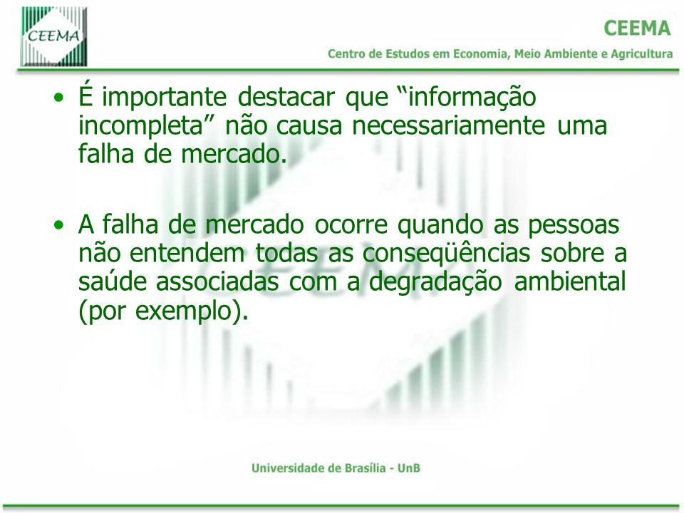 É importante destacar que informação incompleta não causa necessariamente uma falha de mercado. A falha de mercado ocorre quando as pessoas não entend