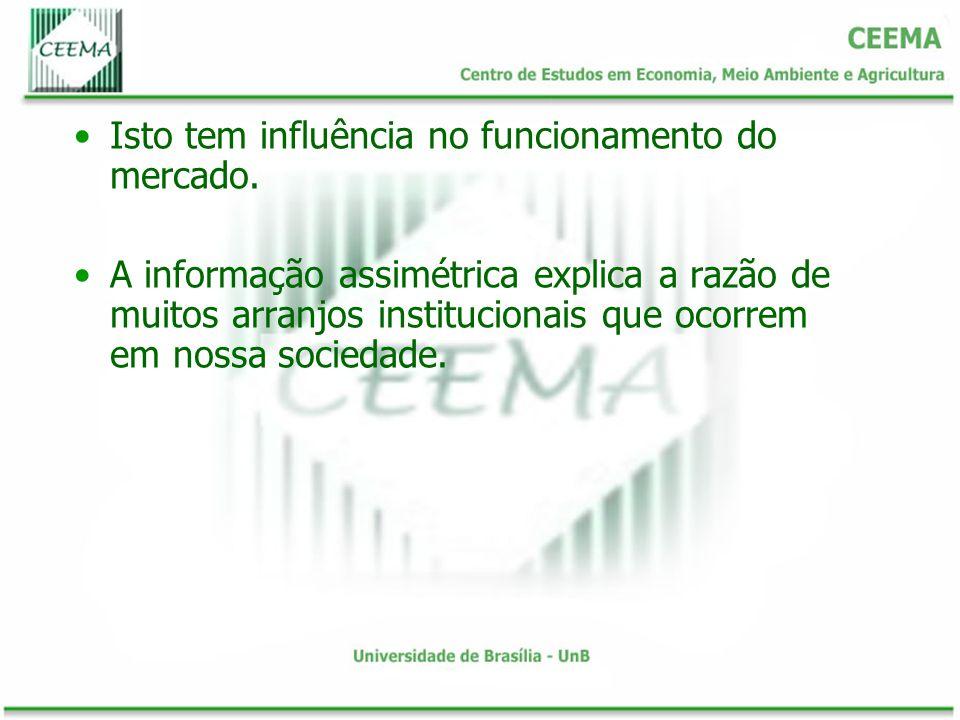 Isto tem influência no funcionamento do mercado. A informação assimétrica explica a razão de muitos arranjos institucionais que ocorrem em nossa socie