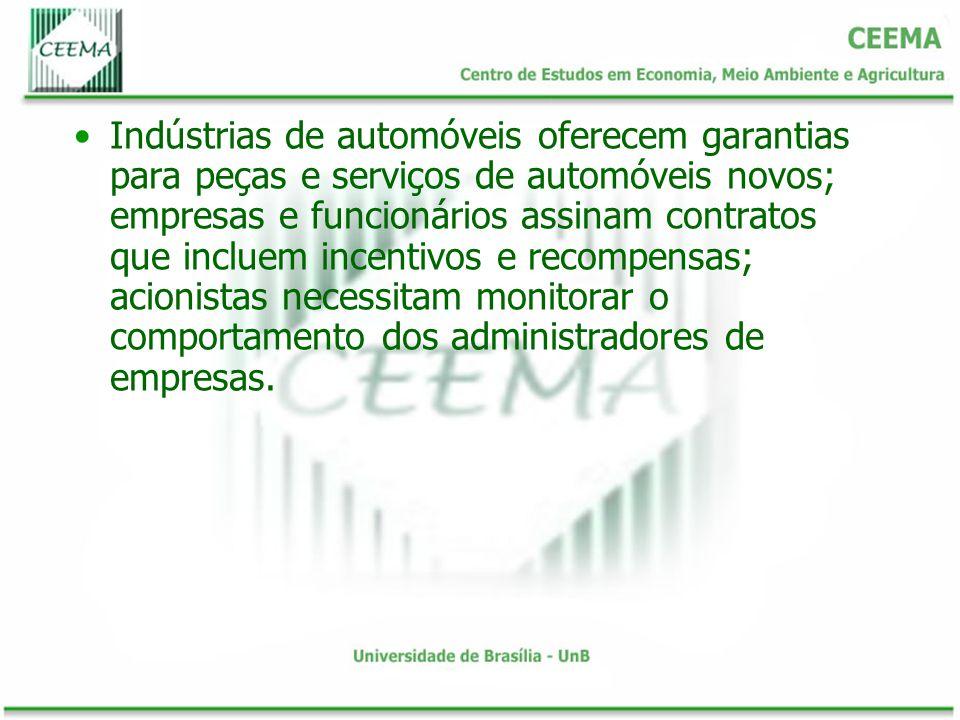 Indústrias de automóveis oferecem garantias para peças e serviços de automóveis novos; empresas e funcionários assinam contratos que incluem incentivo