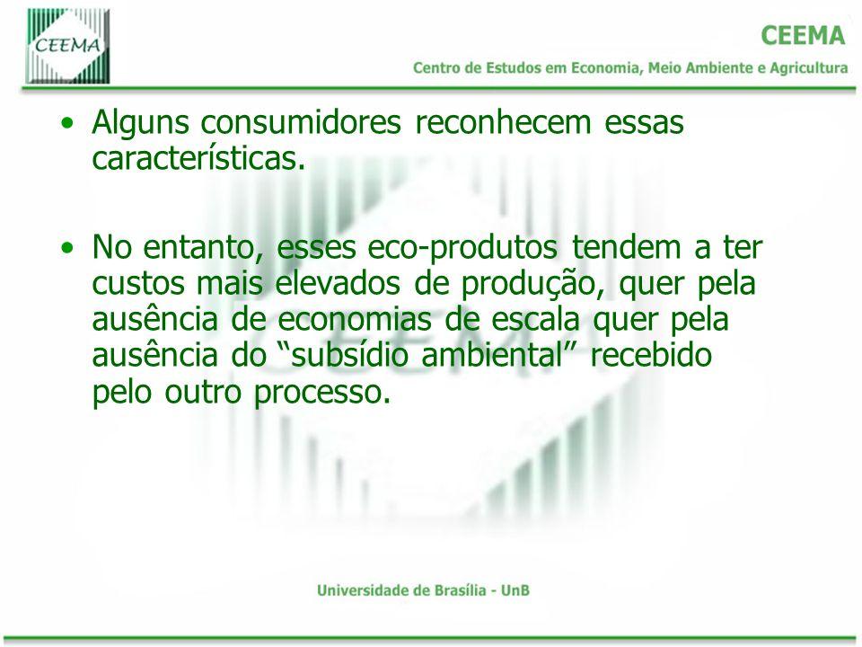 Alguns consumidores reconhecem essas características. No entanto, esses eco-produtos tendem a ter custos mais elevados de produção, quer pela ausência