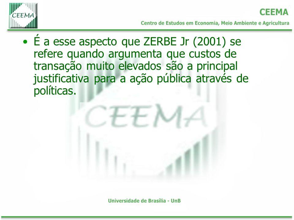 É a esse aspecto que ZERBE Jr (2001) se refere quando argumenta que custos de transação muito elevados são a principal justificativa para a ação públi