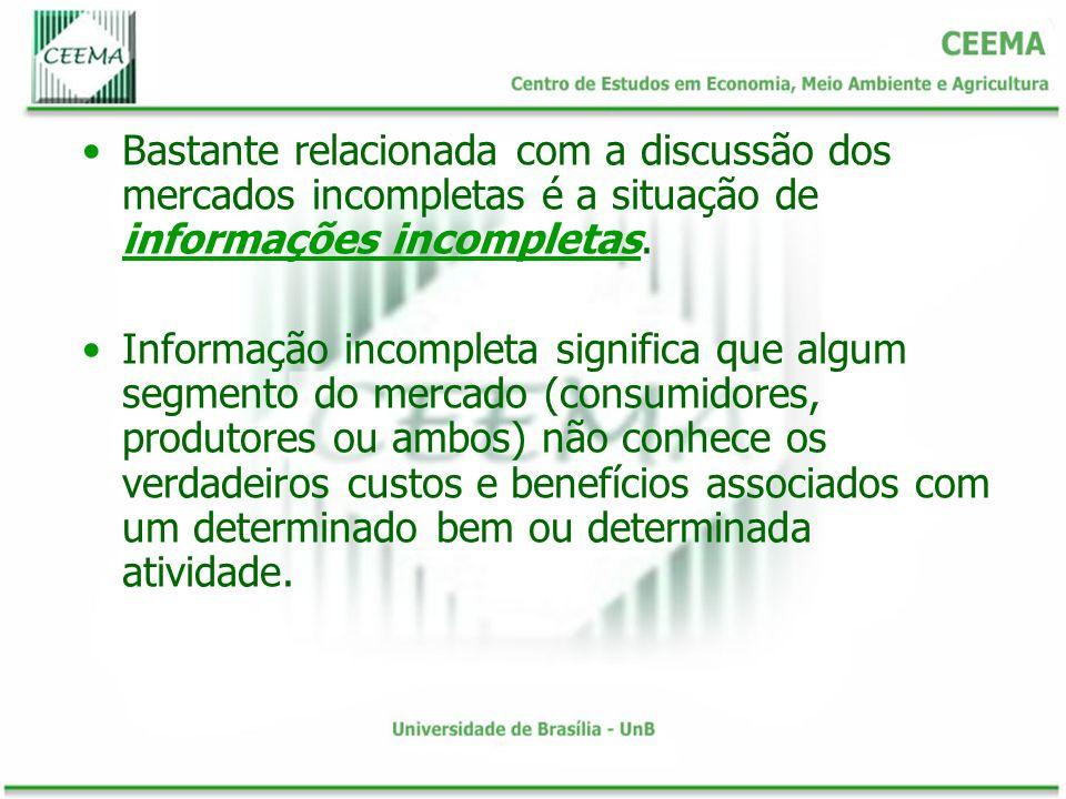 Bastante relacionada com a discussão dos mercados incompletas é a situação de informações incompletas. informações incompletas Informação incompleta s