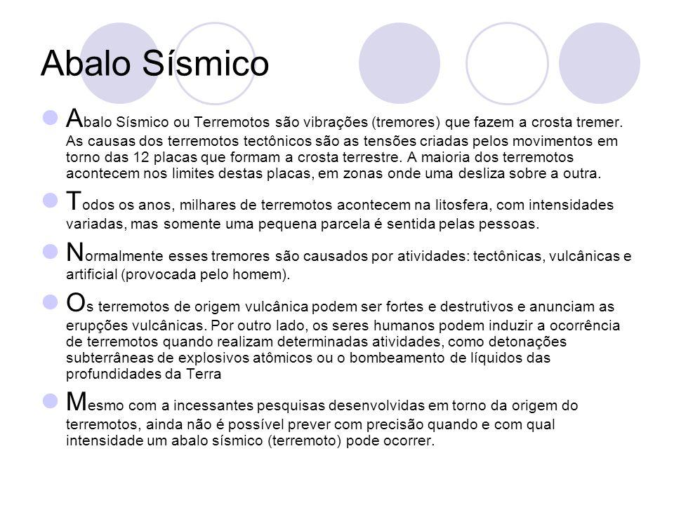 Abalo Sísmico A balo Sísmico ou Terremotos são vibrações (tremores) que fazem a crosta tremer.