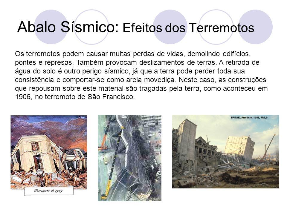 Abalo Sísmico: Efeitos dos Terremotos Os terremotos podem causar muitas perdas de vidas, demolindo edifícios, pontes e represas.