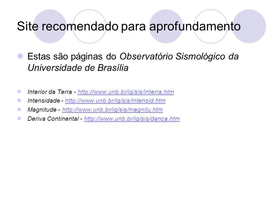 Site recomendado para aprofundamento Estas são páginas do Observatório Sismológico da Universidade de Brasília Interior da Terra - http://www.unb.br/ig/sis/interra.htmhttp://www.unb.br/ig/sis/interra.htm Intensidade - http://www.unb.br/ig/sis/intensid.htmhttp://www.unb.br/ig/sis/intensid.htm Magnitude - http://www.unb.br/ig/sis/magnitu.htmhttp://www.unb.br/ig/sis/magnitu.htm Deriva Continental - http://www.unb.br/ig/sis/danca.htmhttp://www.unb.br/ig/sis/danca.htm