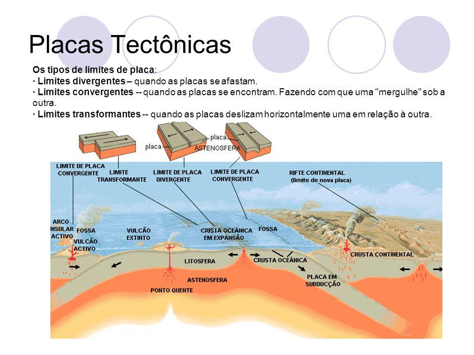 Placas Tectônicas Os tipos de limites de placa: · Limites divergentes – quando as placas se afastam.