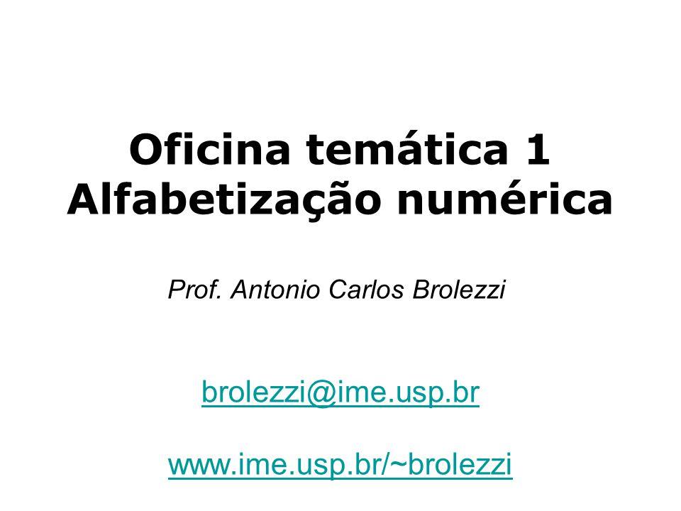 Oficina temática 1 Alfabetização numérica Prof. Antonio Carlos Brolezzi brolezzi@ime.usp.br www.ime.usp.br/~brolezzi brolezzi@ime.usp.br www.ime.usp.b
