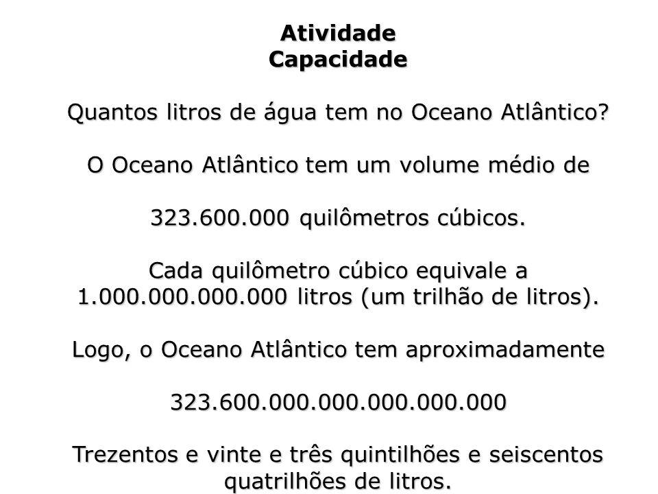 AtividadeCapacidade O Oceano Atlântico tem um volume médio de 323.600.000 quilômetros cúbicos. Cada quilômetro cúbico equivale a 1.000.000.000.000 lit