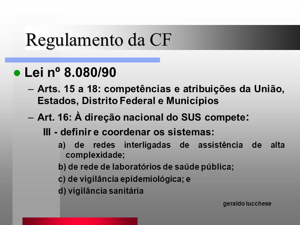 Regulamento da CF Lei nº 8.080/90 –Arts. 15 a 18: competências e atribuições da União, Estados, Distrito Federal e Municípios –Art. 16: À direção naci