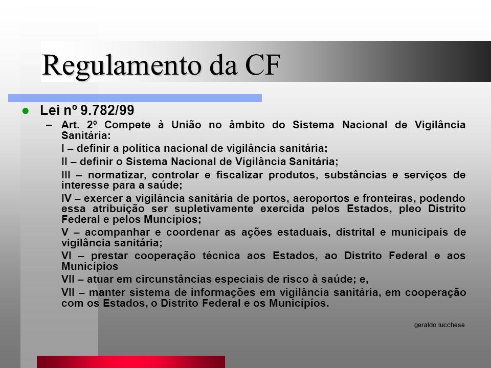 Regulamento da CF Lei nº 9.782/99 –Art. 2º Compete à União no âmbito do Sistema Nacional de Vigilância Sanitária: I – definir a política nacional de v