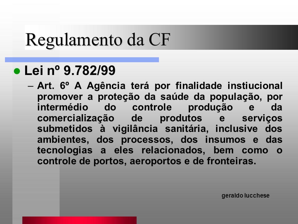 Regulamento da CF Lei nº 9.782/99 –Art. 6º A Agência terá por finalidade instiucional promover a proteção da saúde da população, por intermédio do con