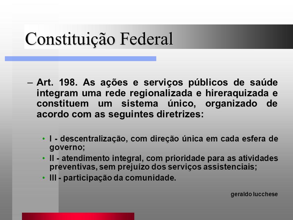 Constituição Federal –Art. 198. As ações e serviços públicos de saúde integram uma rede regionalizada e hireraquizada e constituem um sistema único, o