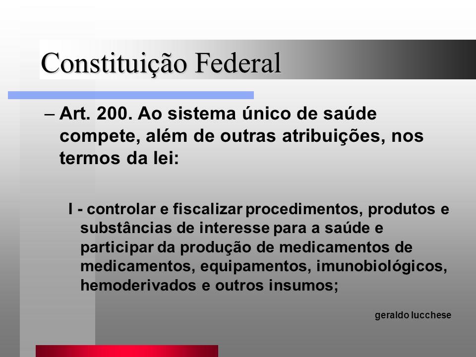 Constituição Federal –Art. 200. Ao sistema único de saúde compete, além de outras atribuições, nos termos da lei: I - controlar e fiscalizar procedime