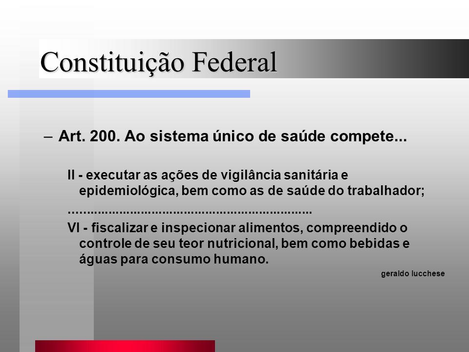 Constituição Federal –Art. 200. Ao sistema único de saúde compete... II - executar as ações de vigilância sanitária e epidemiológica, bem como as de s
