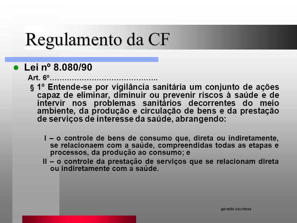 Regulamento da CF Lei nº 8.080/90 Art. 6º…………………………………….. § 1º Entende-se por vigilância sanitária um conjunto de ações capaz de eliminar, diminuir ou