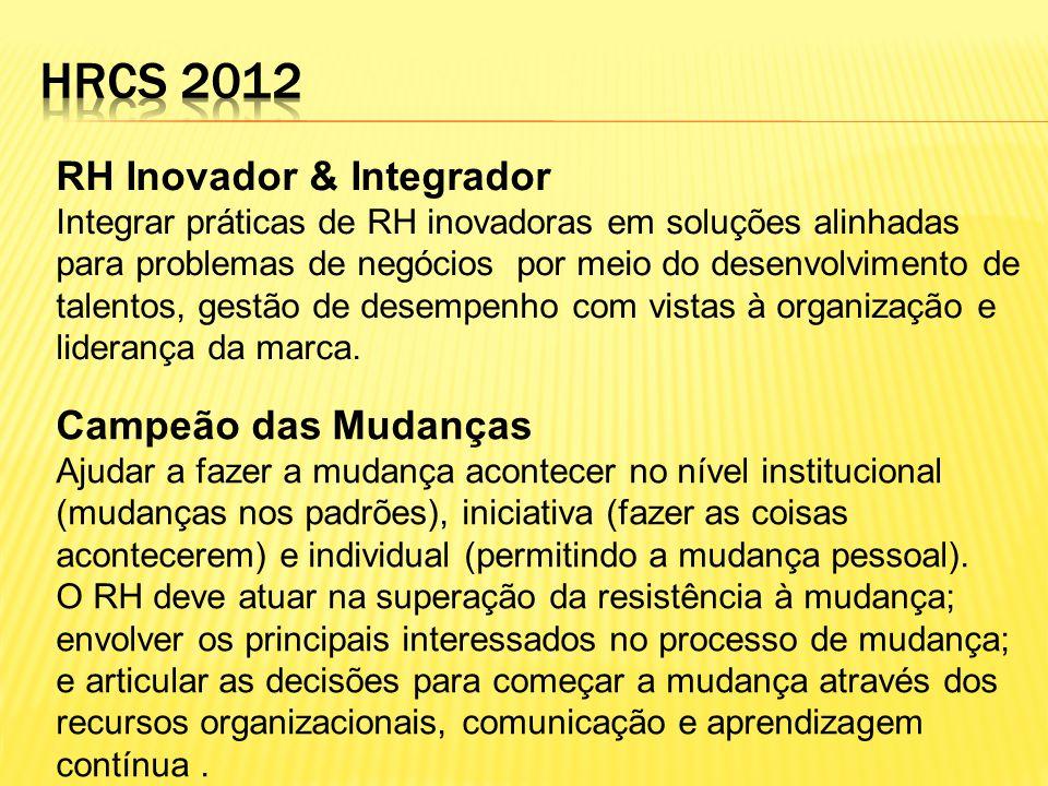 RH Inovador & Integrador Integrar práticas de RH inovadoras em soluções alinhadas para problemas de negócios por meio do desenvolvimento de talentos,