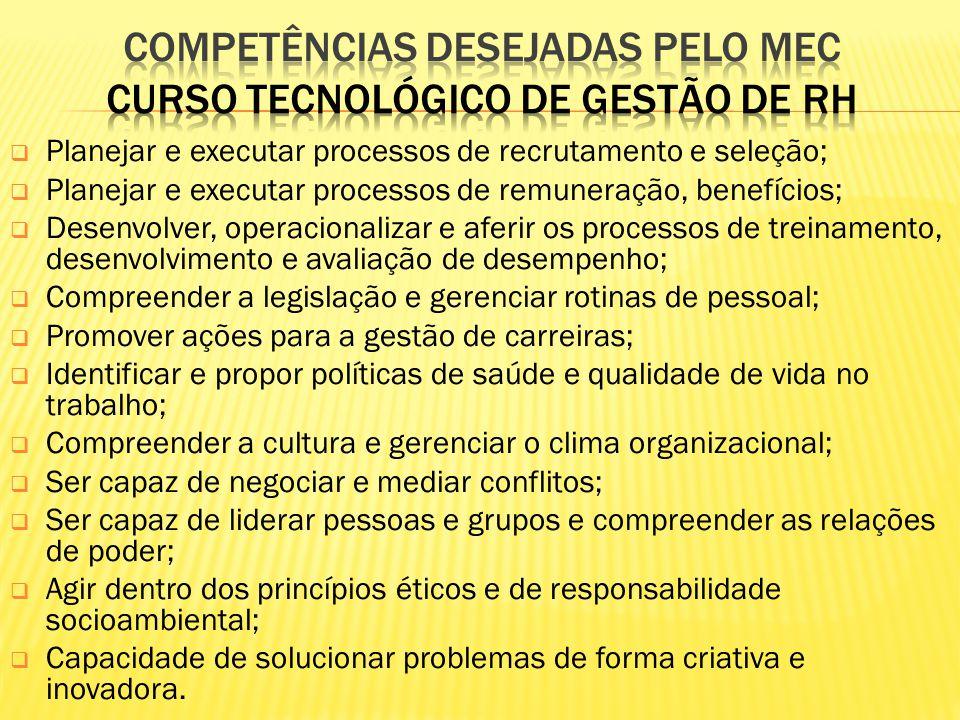 Planejar e executar processos de recrutamento e seleção; Planejar e executar processos de remuneração, benefícios; Desenvolver, operacionalizar e afer