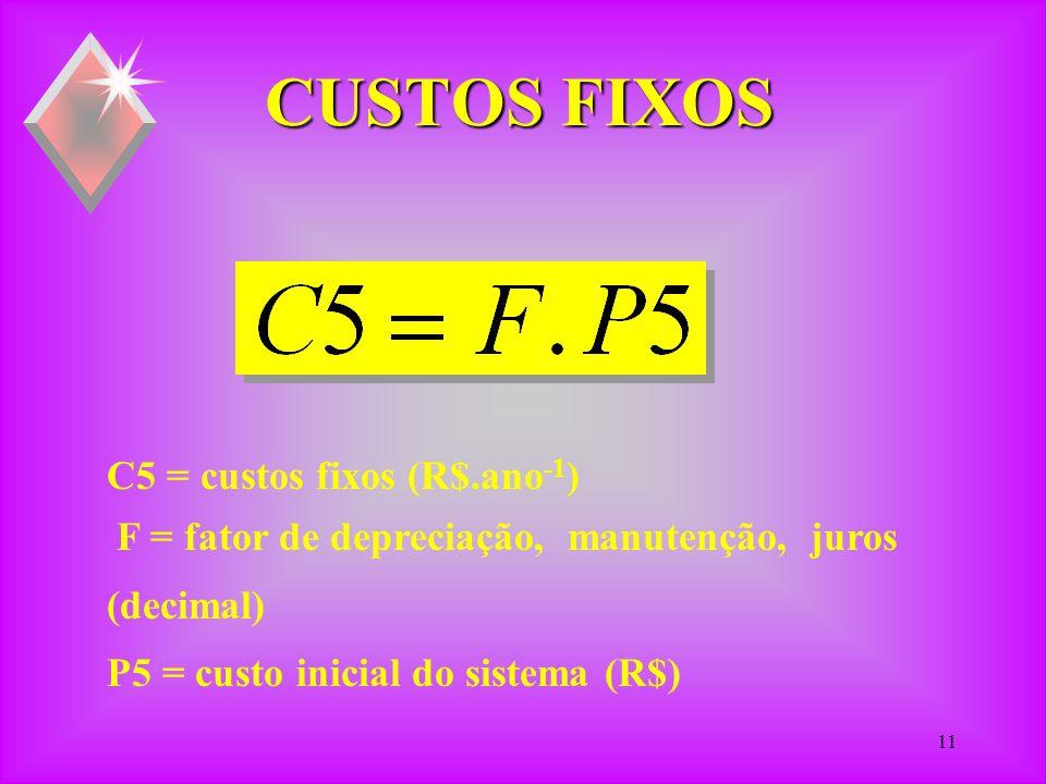 10 CUSTO DE INADEQUAÇÃO C4 =custo inadequação sistema (R$.ano -1 ) P4 = custo do produto (R$.ano -1 ) F i,p = fator de inadequação e programação (ano.dia -1 ) HR = horas de secagem (h.dia -1 )