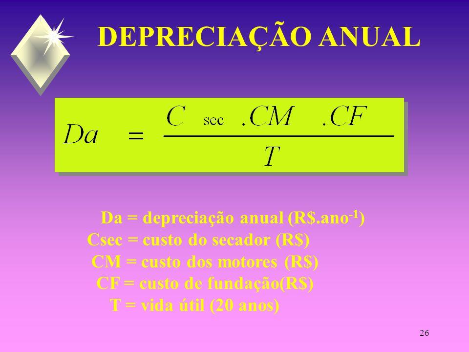 25 CUSTO DE MANUTENÇÃO E CONSERVAÇÃO CMC = custo manutenção e conservação (R$.ano -1 ) Csec = custo do secador (R$) CM = custo dos motores (R$) CF = custo de fundação(R$) CI = custo de instalação (R$)