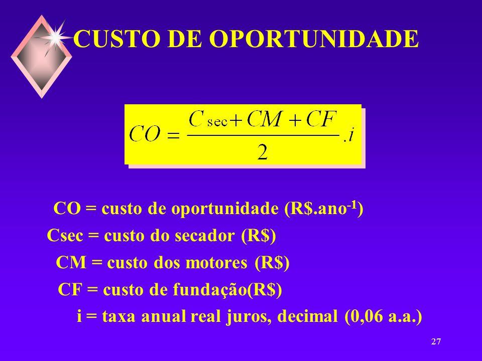 26 DEPRECIAÇÃO ANUAL Da = depreciação anual (R$.ano -1 ) Csec = custo do secador (R$) CM = custo dos motores (R$) CF = custo de fundação(R$) T = vida útil (20 anos)